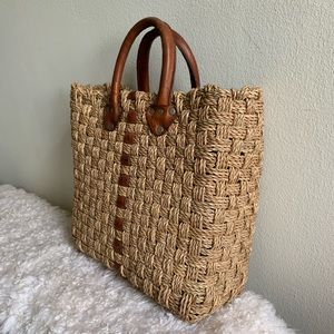 Vintage handmade leather and wicker woven bag